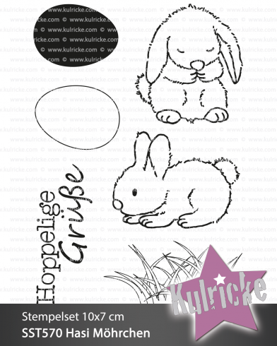 "Stempelset ""Hase Medium Set"" Clear Stamp"